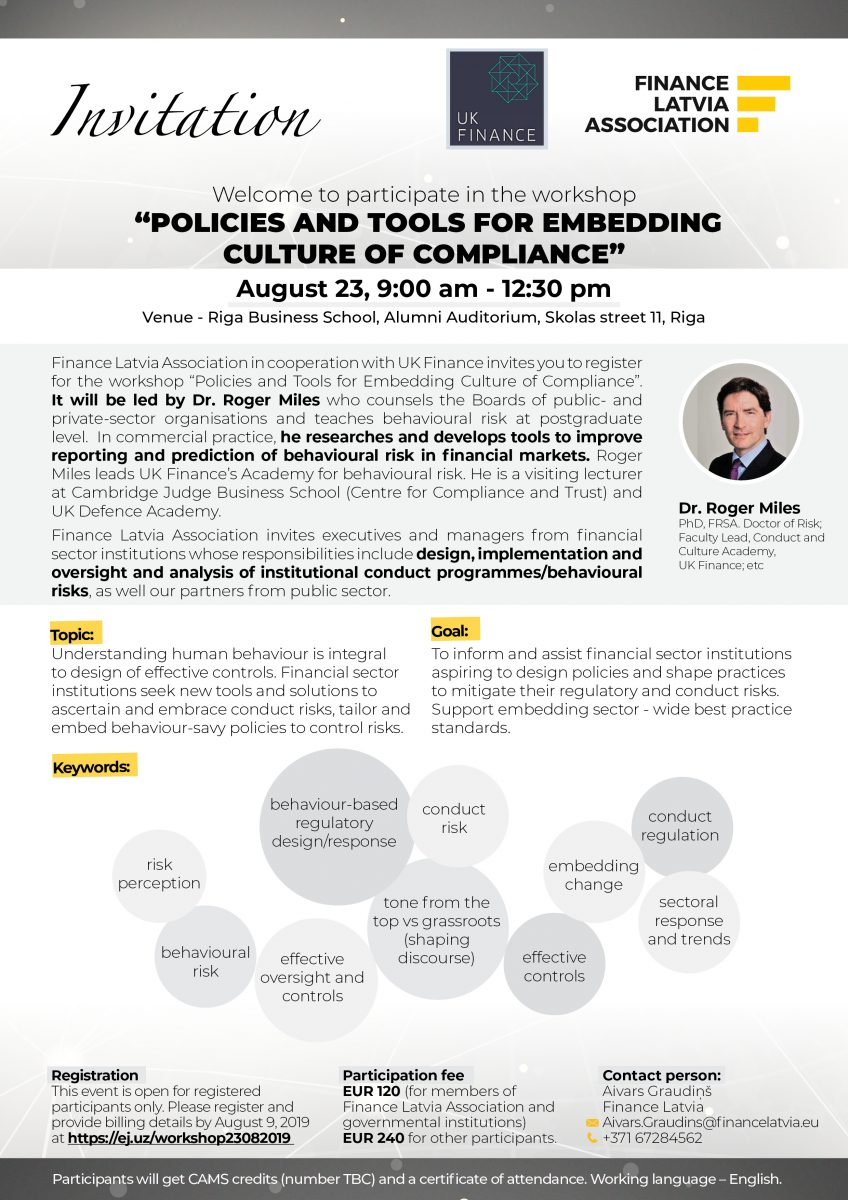 Invitation – Policies and tools for embedding culture of compliance
